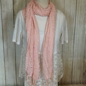Accessories - Blush pink scarf with sparkle for Spring, EUC